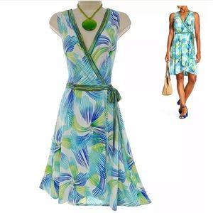 24W 3X▪️PRINT TULIP HEM FAUX-WRAP DRESS Plus Size